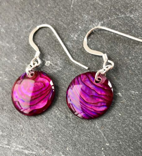 Paua Red Earrings Circle PE18